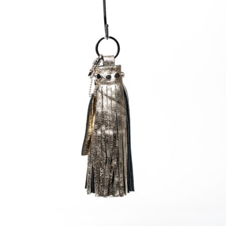 porte-clés oversize gold leather